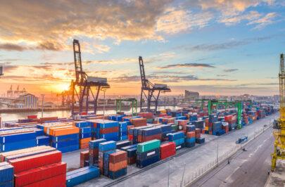 Casablanca, Morocco industrial shipping port at dawn.